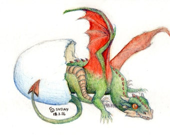 1 x blank baby dragon hatchling greetings card