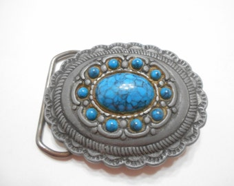 Vintage Faux Turquoise Buckle--Southwestern Style