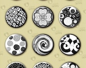 "Collage sheet 18mm circle ""Black&White Spiral Ornaments"" (18BWSC301) 70 images for glass pendant, charms, cabochon, buttons, handmade crafts"