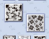 "Collage sheet 1 inch square ""Black & White Floral Motifs"" (1BWNS01) - 48 images of flowers for resin or glass tiles, magnets, jewelry, etc."