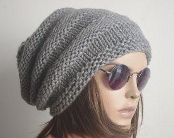READY SHIP gray Crochet Hat, Womens Hat, Beanie, gray Hat with purple flower, Fall Fashion