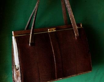Elbief England dark brown Lizard skin handbag 1950s / 1960s