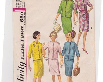 """1960s Size 16 Misses' Jacket and Skirt Vintage Sewing Pattern - Simplicity 4859 - Slim Skirt, Round Collar Jacket, Bust 36"""" Complete"""