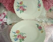 Vintage Dinner Plates Hazel Cabbage Rose Scio Pottery Shabby Cottage Chic Floral Set of 4 Vintage Wedding