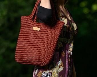 Knitted bag,Rope Bag,Handmade boho bag,Tote bag,Market bag,Shopping bag,Handmade Bag