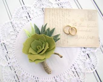 Wedding Boutonniere, Felt Succulent, Felt Flowers, Lapel Pin, Grooms Flower, Men's Boutonniere, Wedding Flowers, Wedding Ceremony, Rustic