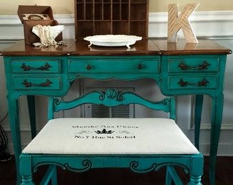 SOLD Vintage French Provincial Vanity Set Hand Painted in  Annie Sloan  Pick Up Only