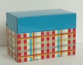 Pair Vintage tin Recipe boxes Ohio Art Plaid Syndicate Dutch