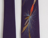 Vintage Handpainted Fishing Lure Skinny Necktie Retro
