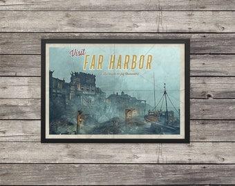 Fallout Poster | Far Harbor travel poster | Vintage travel poster | Videogame art