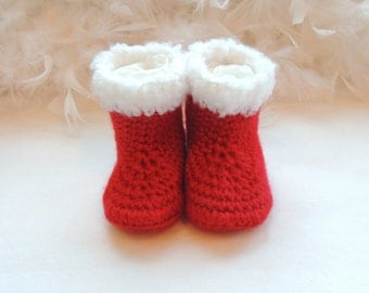 Infant Santa Shoes, Santa Booties, Ugg Inspired Booties, Baby Shoes, Red Crib Shoes, Baby Christmas Shoes, Baby Elf Shoes, Size Newborn