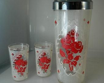 Vintage Bar Shaker Mid Century Cocktail Shaker and Shot Glasses Roses Bar Shaker