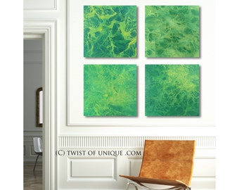 Oversized Abstract Painting / Green fractal painting/ 4 set of paintings /20 x 20 / Green, lime-green, yellow/ / Ready Now Original painting