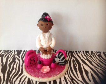 Spa girl,polymer clay cake topper,African American girl at spa,clay lipstick,polymer clay fingernail polish polymer clay purse and slippers