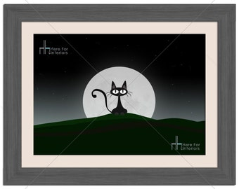 Cute Cat Against The Moon Light Illustration Photographic Print - Various Sizes - Gift Idea