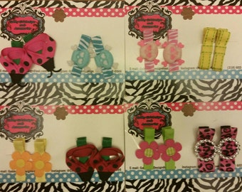 Decorated hair clippies (alligator clips)