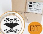 Halloween Bat Scary Modern Cross Stitch Kit Counted - spooky design - thread, fabric, hoop, needle, guide - xstitch skull creepy