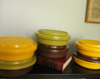 Vintage Tupperware/ 1206/ 12 Pieces/ 6 Bowls with 6 Lids/ Seal-N-Serve/ Serve-N-Store/ Autumn Harvest/ Yellow/ Brown/ Green