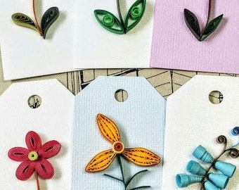 Paper quilling Flower Gift Tag,wedding gift tag, birthday,baby shawer Gift Tags -Set of 6 with linen ribbon