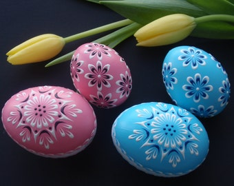 Made to Order, Set of 2 Pysanky, Easter 2016 Gift, Easter Eggs for Baby Girl, Easter Eggs for Baby Boy, Polish Easter Eggs
