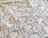 Vintage Linens, Lace, Fabric, Textiles, Off White, Cotton, Tablecloth, Runner, Doily, Curtain, Home Decor, Wedding