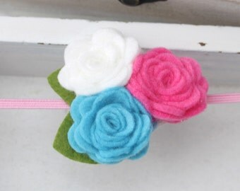 Pick 3 Headband- Felt Baby Headband, Newborn Headband, Baby Girl Headband, Flower Headband , Rose Headband