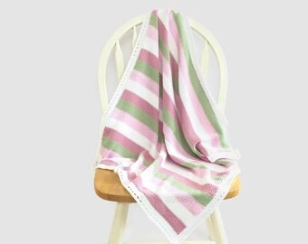 Knitted baby blanket - striped blanket - pink and green blanket - cotton blanket - baby girl blanket