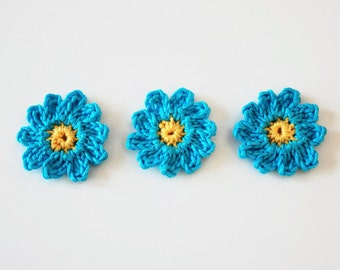 daisy appliqué turquoise | flowers crochet | party decoration | flower embellishment | small flowers