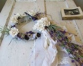 Lavender wreath French Nordic inspired table halo embellished in white roses and long tattered lace tulle tail home decor anita spero design