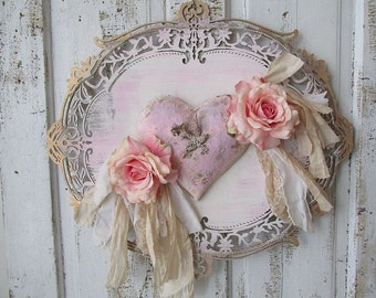 Ornate sign wall hanging w/ heart and roses shabby cottage chic pink and gold plaque adornedrhinestone bird home decor anita spero design