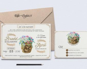 Printable Wedding Invitation Set/Rustic Wedding Suite/Wine Invite/Barrel Wedding Invite/Rustic Wedding Invites