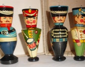 Vintage Christmas Soldier Ornaments  mid century Holidays set of 4 wood ornaments