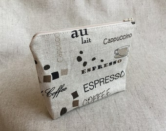 Linen Zipper Pouch with coffee theme