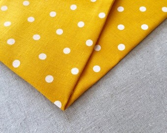 Linen white yellow polka dot fabric 19,68 x 59 inch // Beatiful yellow fabric