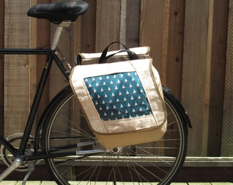Set of two large bicycle pannier/bike bags with decorative fabric (sail boats)