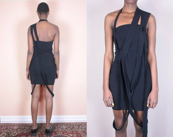 Margiela Little Black Dress Modern Dress Short Black Dress Cut Out Dress Black Cocktail Dress Black Mini Dress Avant Garde 90s Minimalist
