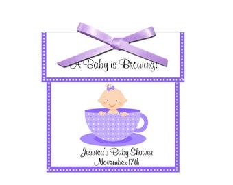 Tea Favors - personalized baby girl tea favors, baby shower favors - set of 12 complete tea favors