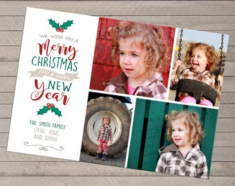 Four Photo Christmas Holiday Card