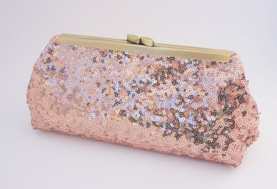 Rose Gold Shimmer Sequin Clutch Purse - Bridesmaid/Bridal/Evening/Wedding/Formal/Prom Hand Bag- Includes Shoulder Chain - Made to Order