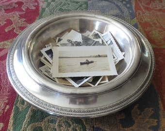 "Antique 1926 Gorham Silver Plate/Electro Plate Art Deco Bowl, Huge 12"" Diameter, Shabby Chic"
