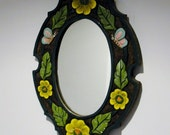 Carved Wood Decorative Oval Mirror Butterflies and Flowers