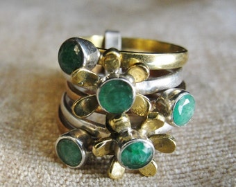 Daisy Stack Ring Estate Jewelry Green Onyx Jewels Size 6