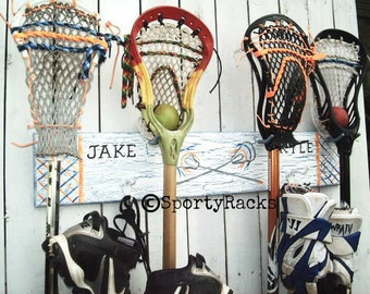 Lax Bro Gift Lacrosse Stick Hanger Sports Room Decor Man Cave Sports Family Personalized Team Colors Custom School Colors SportyRacks Art