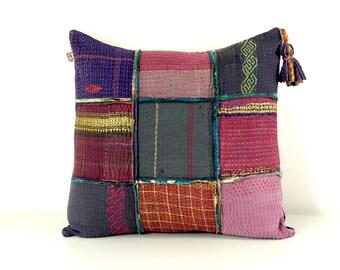 kantha cushion, kantha quilt pillow, kantha pillow case, ooak