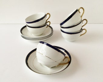Vintage Myott Son & Co England Cups and Saucers Set of Five, Cobalt Blue and Gold Banding Gold Encrusted Cups and Saucers, Elegant China