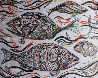 Fishes - Painting Ink Fish - Wall Art Fish - Fine Art Fish - Decoration - Home Decor Original Painting Animals - Fine Art Fish - Nature