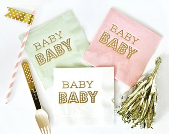 Baby Shower Napkins, OH Baby, Shower Napkins, Party Napkins, Set of 25