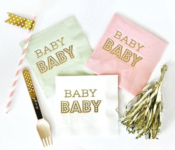 Baby Shower Napkins, OH Baby, Shower Napkins, Party Napkins, Set of 25