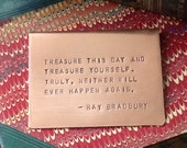 Copper Bookmark, Choose from 25 Quotes or Custom Quote, Hand-stamped, Personalized, BRADBURY