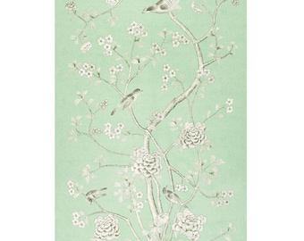 SCHUMACHER CHINOISERIE Exotic Birds Cherry Blossoms Drapery Panel Fabric 1 Aqua